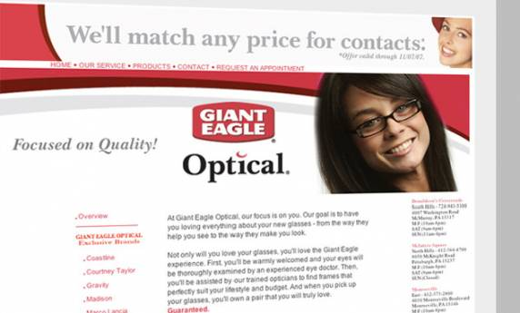 Giant Eagle Optical Web Design Template