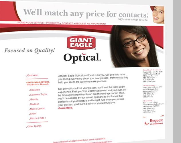 Giant Eagle Optical Web Design Template - ocreations A Pittsburgh ...