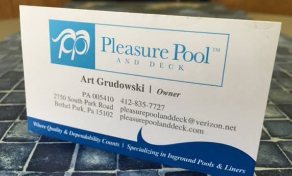 Pleasure Pool & Deck Business Card Design