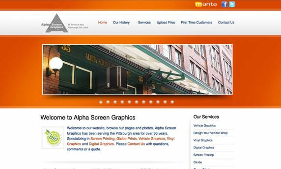 Alpha Screen Graphics Website Design