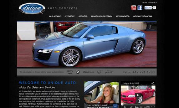 Unique Auto Concepts Website Design
