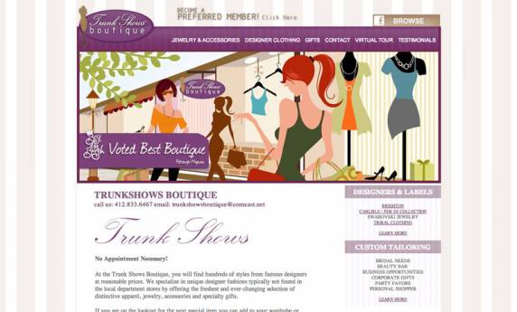 Trunk Shows Boutique Website Design