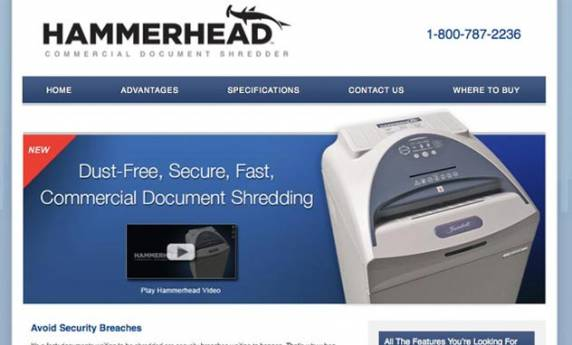 Hammerhead Commercial  Document Shredder Website Design