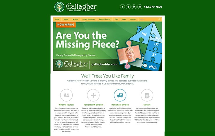 gallagher home health services website design ocreations a pittsburgh design firmocreations a. Black Bedroom Furniture Sets. Home Design Ideas