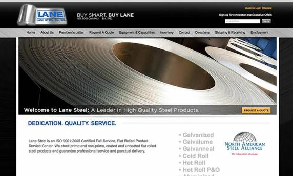 Lane Steel Co Website Design