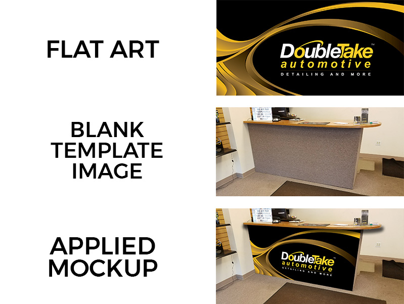 The process of creating a mockup: start with the flat art file, find an image to apply the artwork to, and apply using your Photoshop skills!