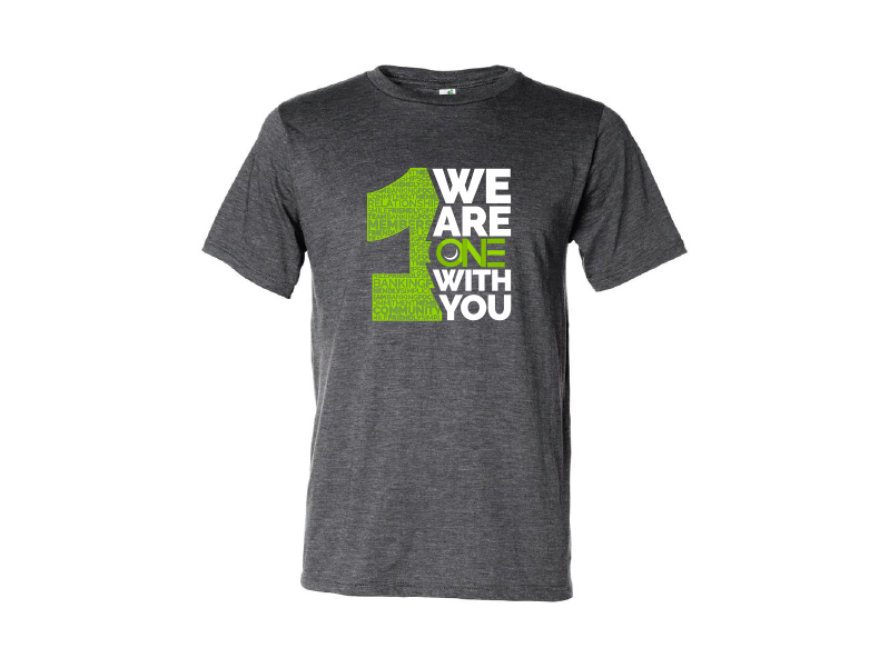 A t-shirt mockup for ONE Federal Credit Union.