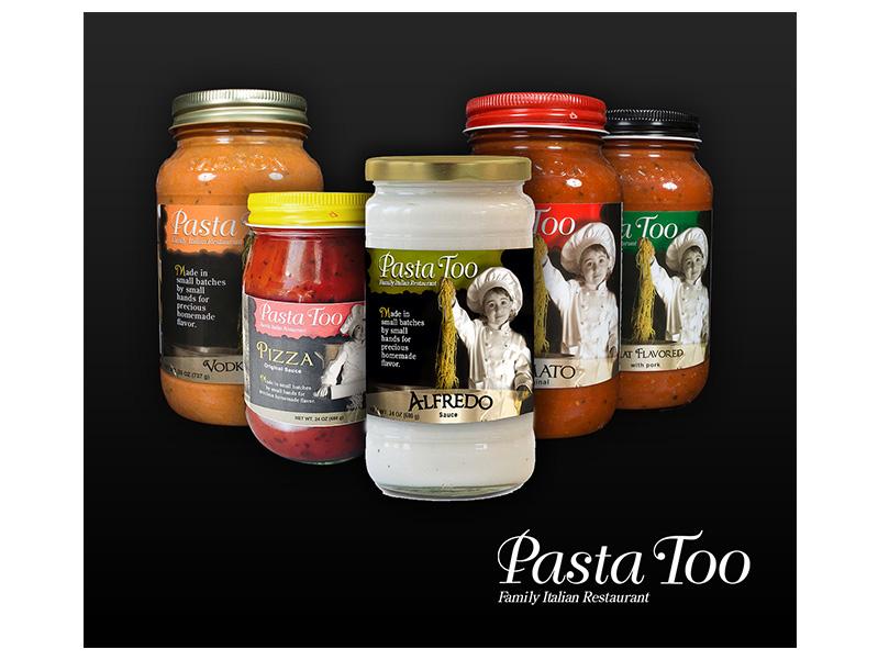 Various Pasta Too sauce bottle mockups.