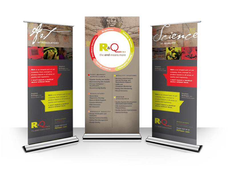 A tradeshow mockup for one of our clients, R&Q.